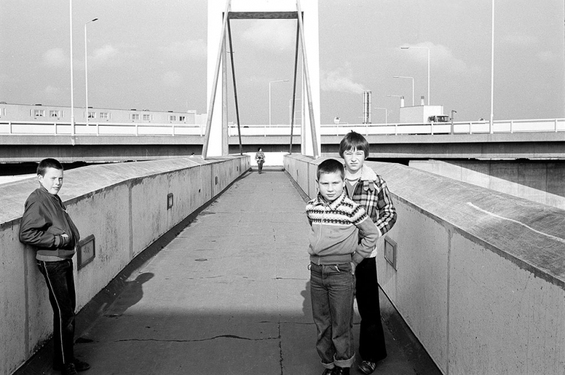 Crossing Eastern Way (A2016), via the 'A' Bridge, built 1973. c.1979 Photography © George Plemper