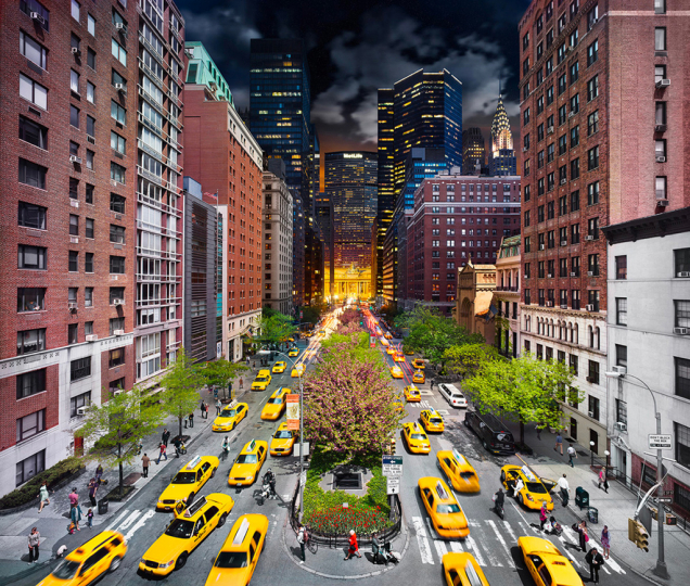 Stephen Wilkes Park Avenue, NYC Fuji Crystal Archival Photograph Executed in 2011
