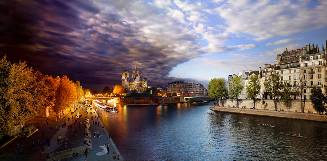 Stephen Wilkes Pont de la Tournelle, Paris Fuji Crystal Archival Photograph Executed in 2013