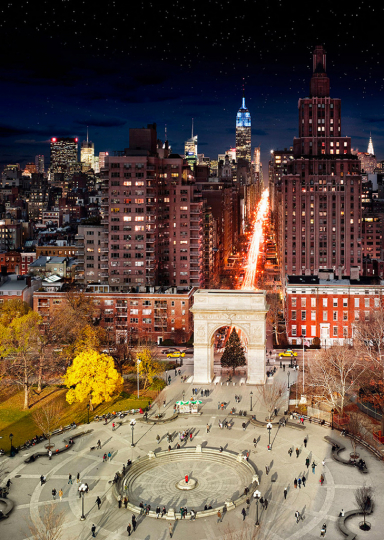 Stephen Wilkes Washington Square Park, NYC Fuji Crystal Archival Photograph Executed in 2009