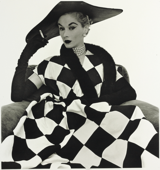 © The Irving Penn Foundation © Condé Nast Harlequin Dress (Lisa Fonssagrives-Penn), New York 1950 Platinum-palladium print. Printed in 1979 Full image size: 63x55.9cm Unframed image size: 50x47.7cm ©