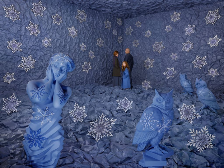 Winter, 2018 ©Sandy Skoglund; color photograph, 122cmx162.6cm; Sandy Skoglund studio, New York; courtesy Paci contemporary gallery (Brescia – Porto Cervo, IT)