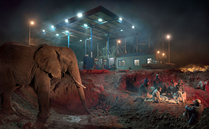 Petrol Station with Elephant and Kids. ©Nick Brandt