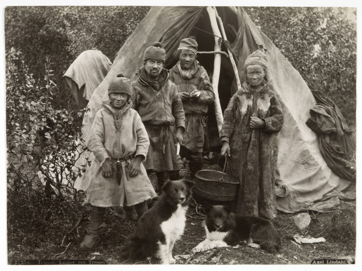The Lapp people (Sami) photographed by the Swede photographer Axel Lindahl in Finnmarken, Norway. ca. 1885