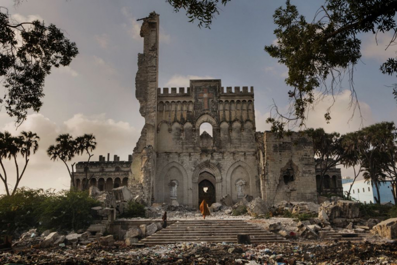 Africa, Somalia, Benadir region, Mogadishu. 26/03/2012. The Catholic cathedral, located between Hamarweyne and Shangani districts, the old town of the Somali capital. In fact, Hamarweyne literally means the big city or old town Somalia, Mogadiscio, 2012 ©Marco Gualazzini / Contrasto