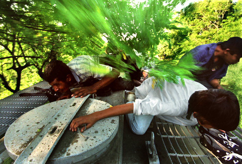 "AUGUST 4, 2000. TONALA, CHIAPAS, MEXICO. ""Riding The Beast"" Clinging to the top of a speeding freight train, Denis Evan Contrarez, 12, right, and Santo Antonio Gamay, 25, go face down to avoid tree branches flying over their bodies. Denis had seen branches lacerate and throw people clear off the train. Minutes before this picture, stowaways were yelling,"