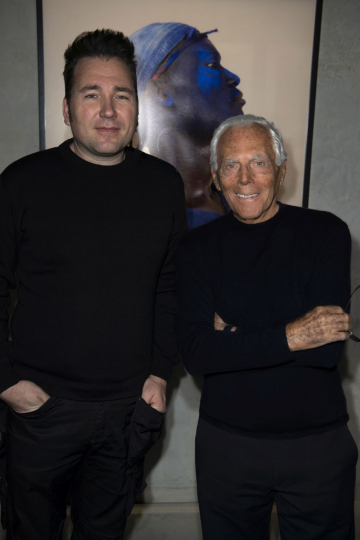 Giorgio Armani and Charles Fréger at Armani Silos; photo credit SGP