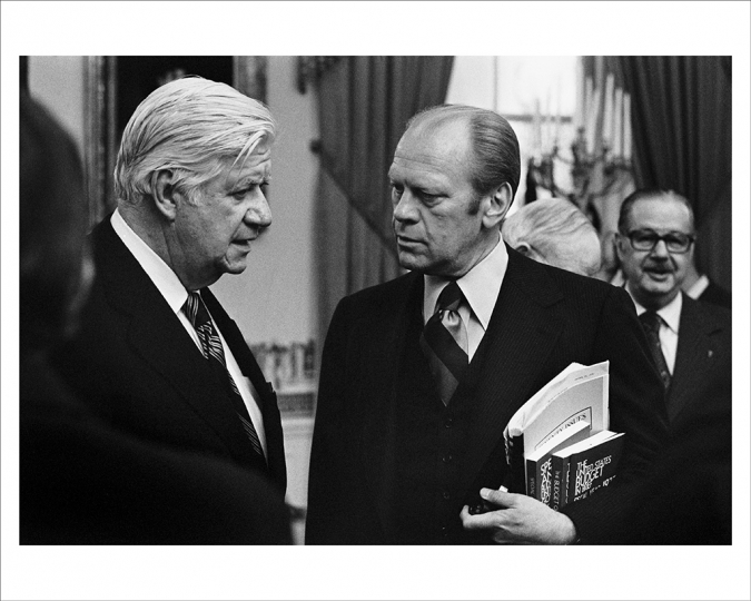 "JANUARY 20, 1976 President Ford meets with his longtime friend, colleague, and political adversary Democratic House Majority Leader Thomas P. ""Tip"" O'Neill, and Senate Minority Leader Hugh Scott. (Photo by David Hume Kennerly/Gerald R. Ford Presidential Library)"