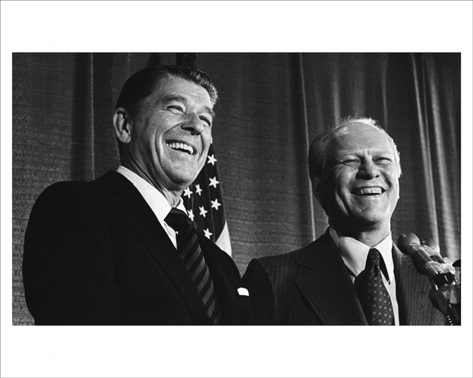 AUGUST 19, 1976 Ronald Reagan and President Ford are all smiles at a news conference announcing Ford's close election by Republican Convention delegates as their nominee for president, masking the acrimony of their discussions earlier that day. (Photo by David Hume Kennerly/Gerald R. Ford Presidential Library)