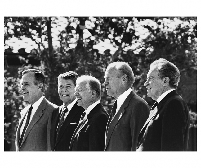 November 4, 1991 At the opening of the Ronald Reagan Presidential Library in Simi Valley, California, five American presidents gathered together for the first time. President Ford had either worked with or run against each of them – in some cases both. From left: President George H. W. Bush, former presidents Ronald Reagan, Jimmy Carter, Gerald R. Ford, and Richard Nixon. (Photo by David Hume Kennerly/Gerald R. Ford Presidential Library)