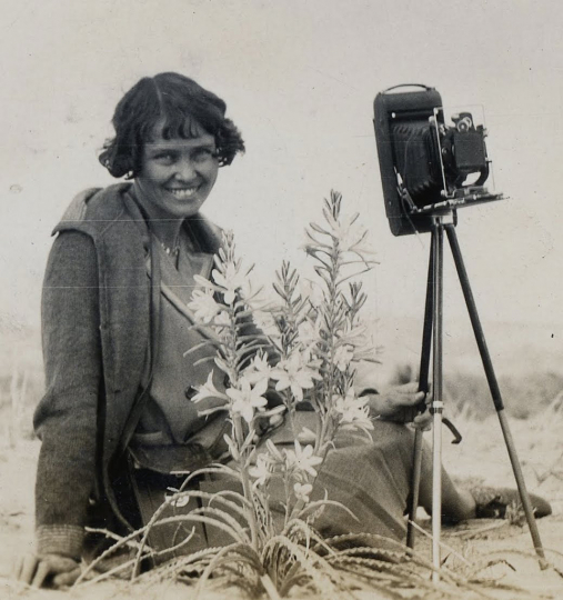 Susie Keef Smith and her camera, with a desert lily she was photographing. Photographer: Lula Mae Graves