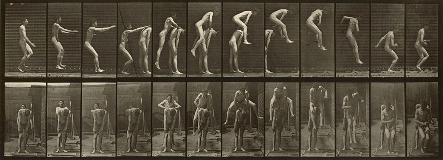 Plate 166. Jumping over man's back (leap-frog), 1887 © Eadweard Muybridge - Courtesy Laurence Miller Gallery