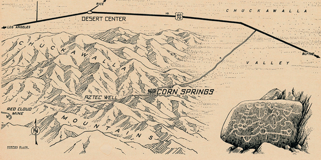 This 1954 map by Norton Allen (Desert Magazine) shows the road through Desert Center (now I-10) as well as Corn Springs, where Susie Keef Smith had a cabin