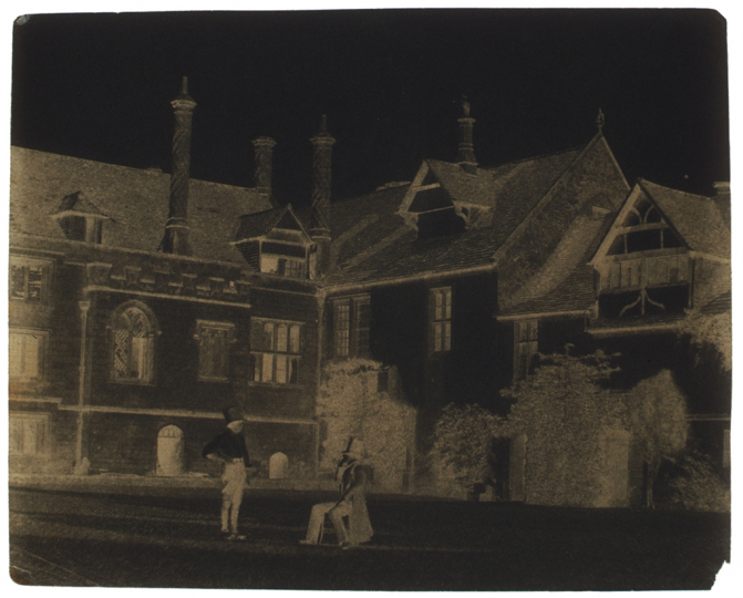 William Henry Fox TALBOT (English, 1800-1877) Talbot converses with an Acolyte in the North Courtyard of Lacock Abbey, 1841-1844 Calotype negative, waxed 15.9 x 20.0 cm - Courtesy Hans P. Kraus Jr. Fine Photographs