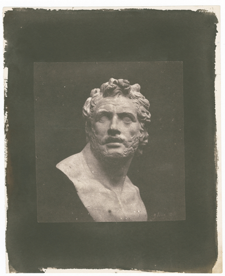 William Henry Fox TALBOT (English, 1800-1877) Bust of Patroclus, 1842 Salt print from a calotype negative 13.0 x 12.8 cm - Courtesy Hans P. Kraus Jr. Fine Photographs