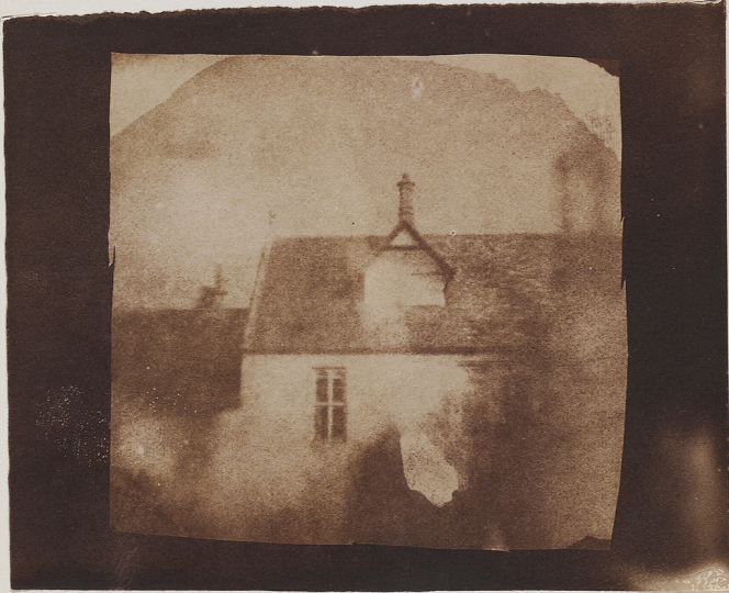 William Henry Fox TALBOT (English, 1800-1877) Stable roofline, northeast courtyard, Lacock Abbey, likely September 1840 Salt print from a photogenic drawing or calotype negative 8.0 x 8.2 cm - Courtesy Hans P. Kraus Jr. Fine Photographs