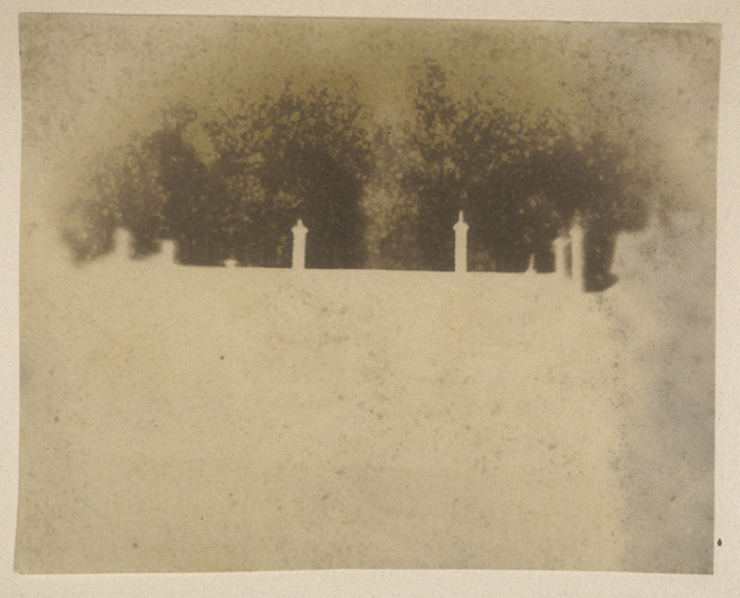 William Henry Fox TALBOT (English, 1800-1877) Roofline of Lacock Abbey, circa 1839 Photogenic drawing negative 9.3 x 11.6 cm - Courtesy Hans P. Kraus Jr. Fine Photographs