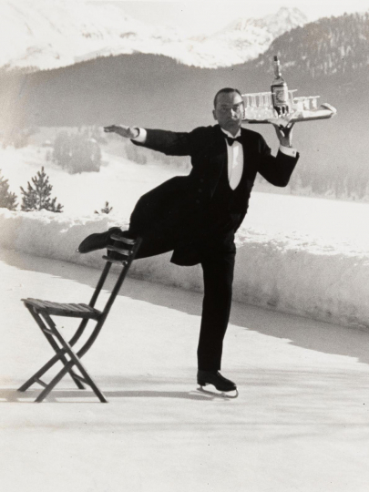 Alfred Eisenstaedt Ice Skating Waiter, Grand Hotel, St. Moritz, 1932 © Alfred Eisenstaedt/Time & LIFE Pictures/Getty Images, courtesy Robert Mann Gallery