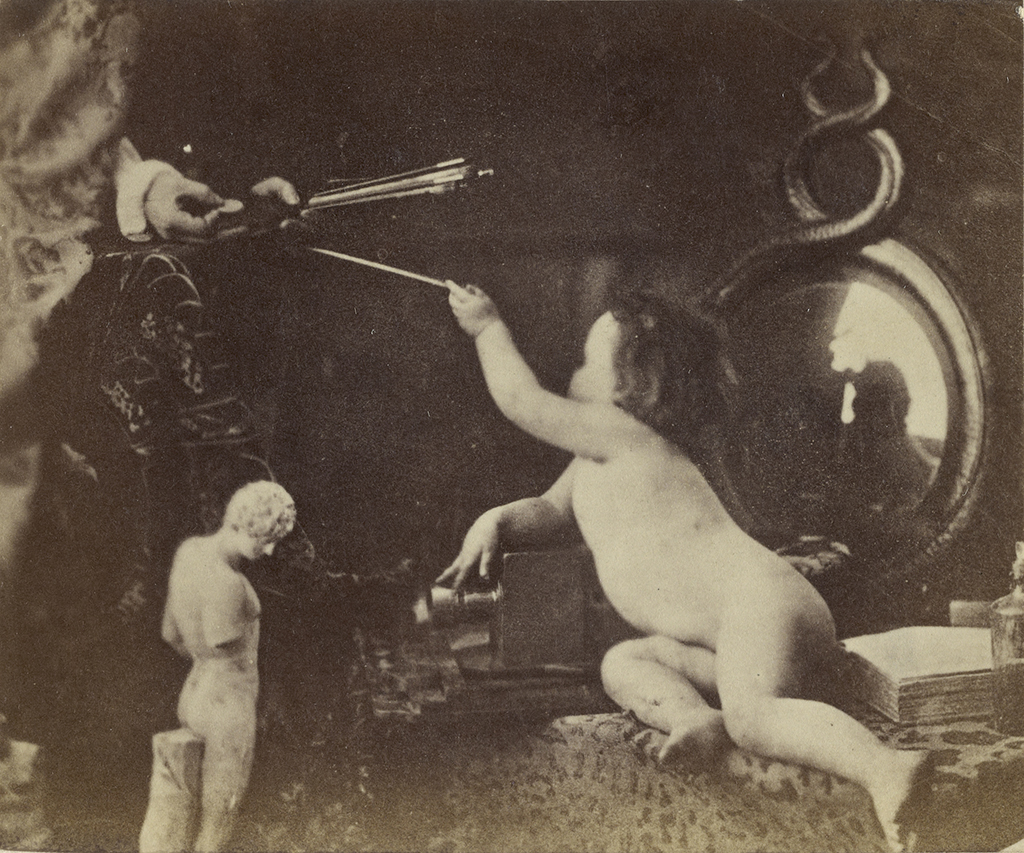 The Infant Photography Giving the Painter an Additional Brush; Oscar Gustave Rejlander (British, born Sweden, 1813 - 1875); London, England; about 1856; Albumen silver print; 6 × 7.1 cm (2 3/8 × 2 13/16 in.); 84.XP.458.34 Courtesy The J. Paul Getty Museum, Los Angeles