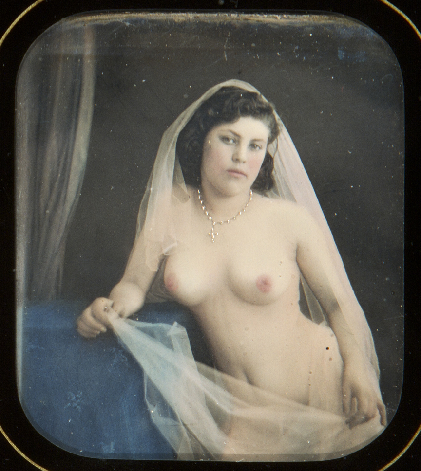Artist unknown, Veiled nude with diamond pendant, Stereo daguerreotype, ca. 1850, Collection of Michael Mattis and Judy Hochberg