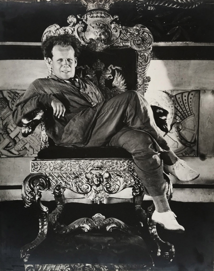 9. Attributed to Alexander Sigaev, Untitled (Sergei Eisenstein enthroned during the production of October), 1927. Vintage gelatin silver print. Courtesy of Nailya Alexander Gallery, New York.