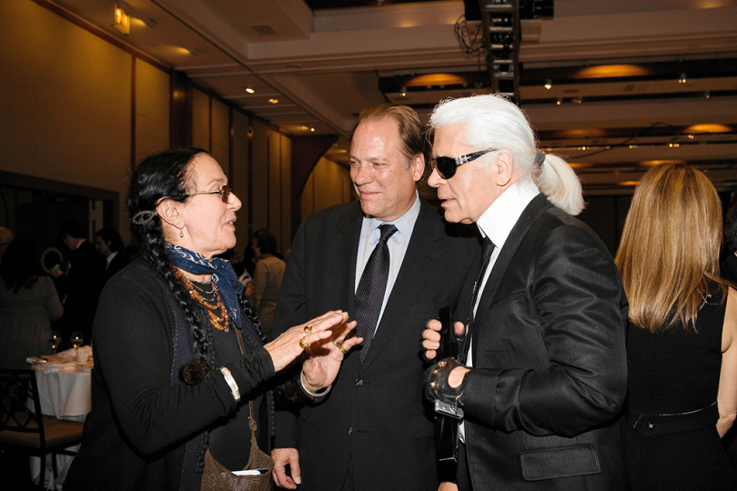 "Mary Ellen Mark, Willis ""Buzz"" Hartshorn, and Karl Lagerfeld at the 2007 Infinity Awards. Courtesy International Center of Photography. Photo by Stephanie Badini."
