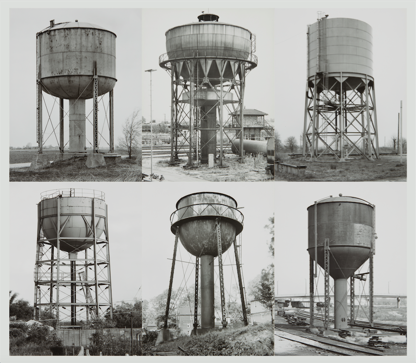 Bernd and Hilla Becher, Water Towers, 1968-1984. Six gelatin silver prints, each mounted to board. Each 15 3/4 x 12 1/8 in. Signed installation map accompanying the work. Image courtesy of Phillips Estimate: $80,000- 120,000, SOLD FOR $162,500