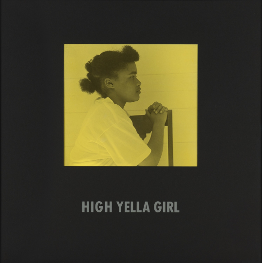 Carrie Mae Weems, High Yella Girl from Colored People 1988-1989 Toned gelatin silver print with Prestype and frame, printed 1997. 13 3/8 x 14 3/4 in. (34 x 37.5 cm) Overall 29 1/2 x 29 1/2 in. (74.9 x 74.9 cm) Signed, dated and numbered 'AP 2/2' in ink on the verso. One from an edition of 5 plus 2 artist's proofs. Image courtesy of Phillips. Estimate: $25,000 - 35,000 SOLD FOR $50,000