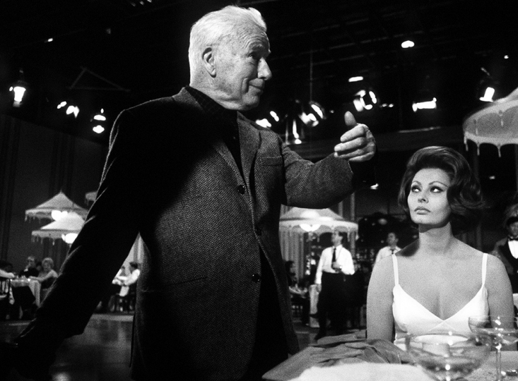 Douglas Kirkland, Charlie Chaplin and Sophia Loren on the set of A Countess from Hong Kong, 1966, courtesy of Palos Verdes Art Center.