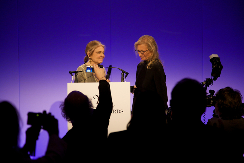 Gloria Steinem presenting Annie Leibovitz with the Lifetime Achievement Award at 2009 Infinity Awards. Courtesy International Center of Photography. Photo by Brandon Remler. 0