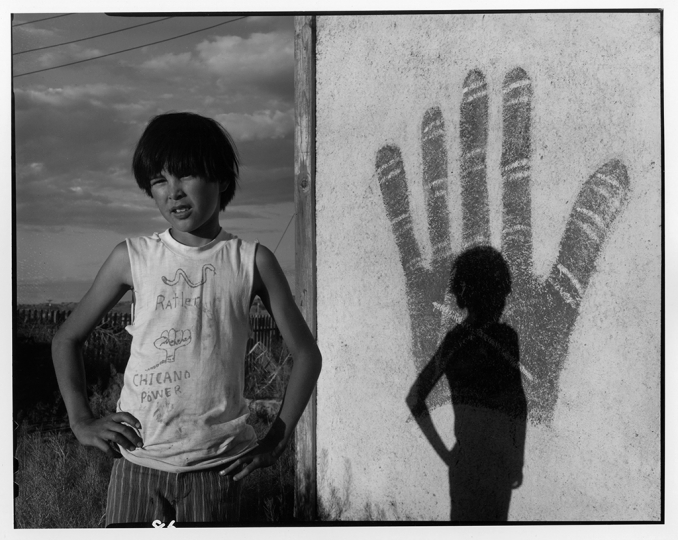 Johnnie Sanchez in his Chicano Power T-shirt, Bernalillo, 1973 © Danny Lyon/Magnum Photos, courtesy Etherton Gallery, Tucson, AZ.