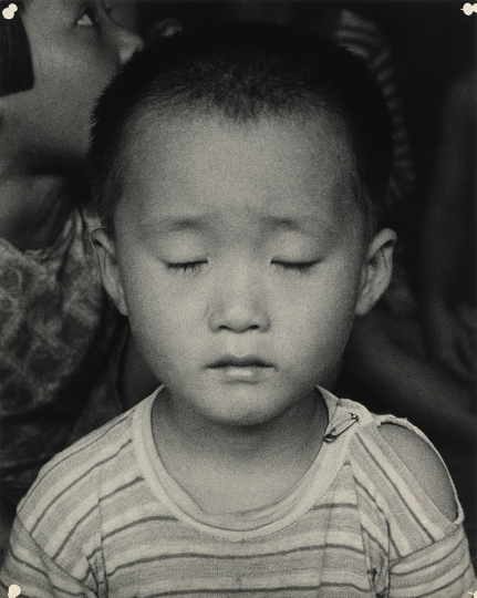 Lot 148: Dorothea Lange, Korean Child, silver print, 1958, printed 1960s. Estimate $20,000 to $30,000. - Courtesy Swann Auction Galleries