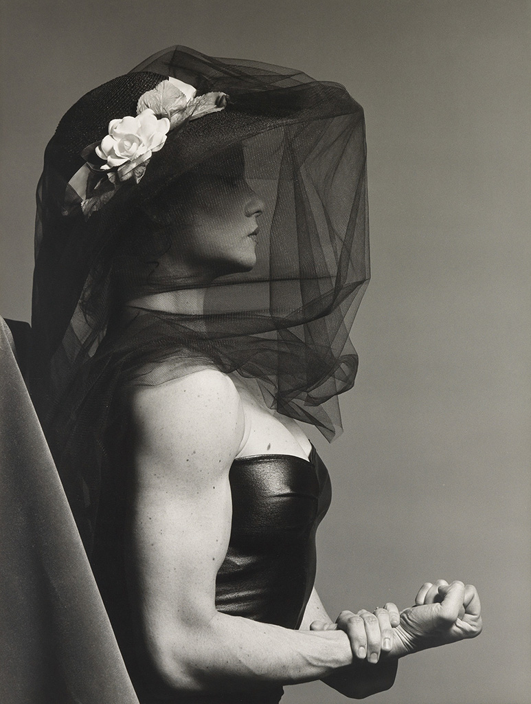 Lot 185: Robert Mapplethorpe, Lisa Lyon, oversized silver print, 1980-82. Estimate $50,000 to $75,000. - Courtesy Swann Auction Galleries