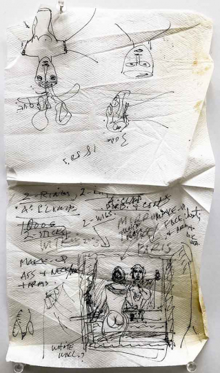 Man Reflected on Drawing (napkin) © Joel-Peter Witkin – Courtesy Catherine Edelman Gallery