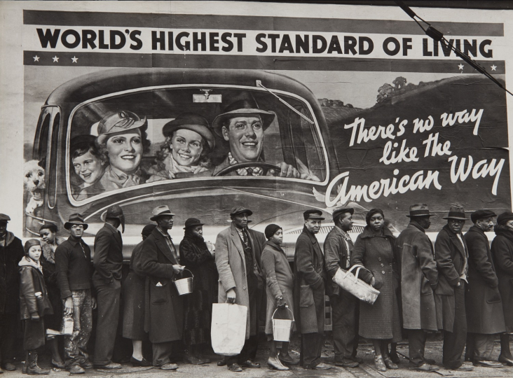 Margaret Bourke-White, Flood Refugees, Louisville, Kentucky, 1937 Gelatin silver print. 9 5/8 x 13 1/8 in. (24.4 x 33.3 cm) Calligraphically credited and titled in ink on the mount; credit stamp and titled in an unidentified hand in pencil and a gold foil 1938 Grand Central Exposition label on the reverse of the mount. Image courtesy of Phillips. Estimate: $150,000-250,000 SOLD FOR $400,000