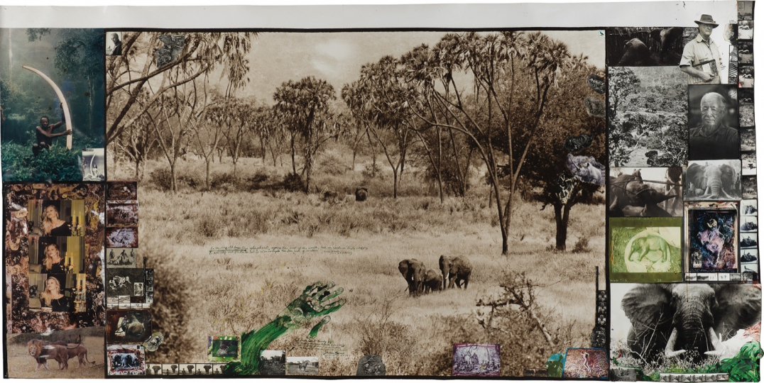 Peter Beard, Tsavo East (early '60's), (as Brör Blixen knew it in the '20's + '30's), West of Daka Dima/ near the Tiva for The End of the Game/ Last Word from Paradise 1960 Toned gelatin silver print with applied ink, paint and blood with affixed stamp, gelatin silver and chromogenic prints, executed later. 47 x 95 1/2 in. (119.4 x 242.6 cm) Overall 53 x 101 1/2 in. (134.6 x 257.8 cm) Signed, titled, dated and annotated in ink on the recto; 'The Time is Always Now' copyright credit reproduction limitation stamp and label on the reverse of the frame. Image courtesy of Phillips. Estimate: $150,000 - 250,000 SOLD FOR $187,500