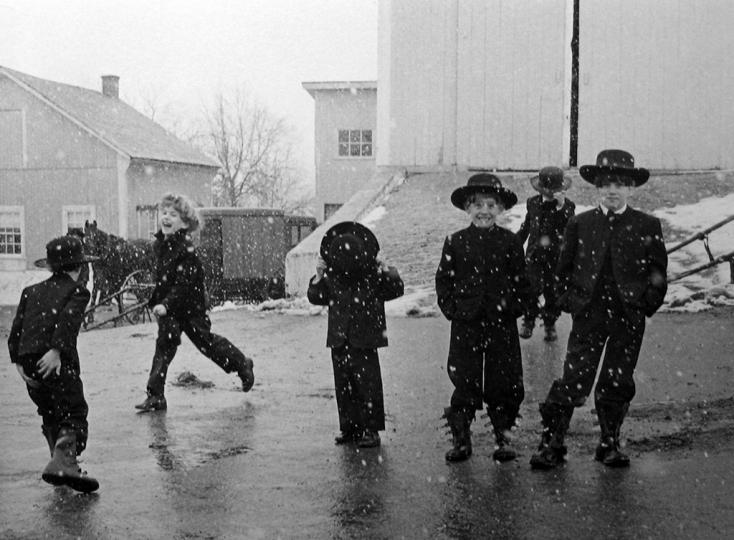 Tice - Amish Children Playing in Snow, Lancaster, Pennsylvania_1969@ George Tice, Courtesy of Peter Fetterman Gallery