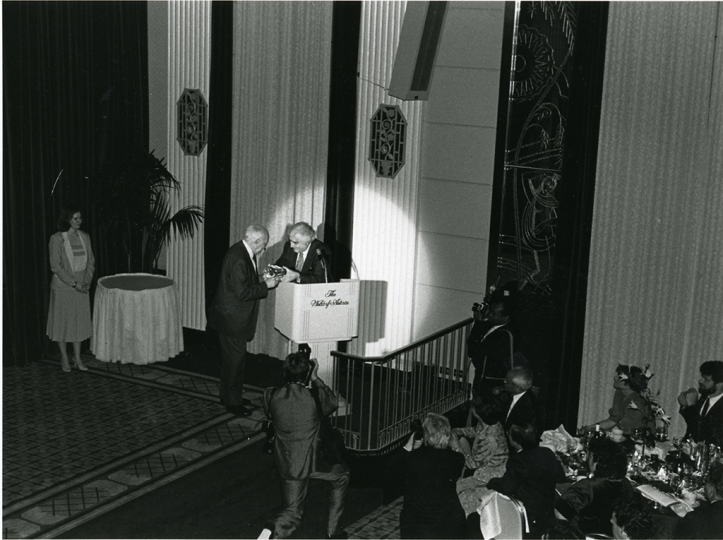ICP Founder Cornell Capa presents André Kertész with the Master of Photography award at the inaugural Infinity Awards, held at the Waldorf Astoria on April 23, 1985. Courtesy International Center of Photography.