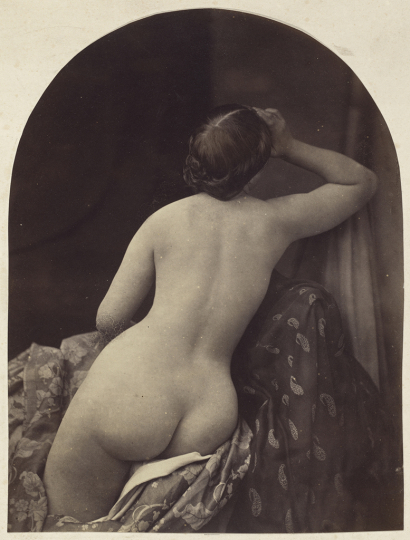 Oscar Gustaf Rejlander British, born Sweden, 1813–1875 Ariadne, 1857 Albumen print from a wet collodion negative Image (rounded top): 20.4 x 15.5 cm (8 1/16 x 6 1/8 in.) National Gallery of Art, Washington, Paul Mellon Fund, 2007.29.38