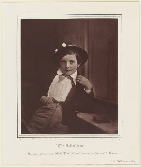 Oscar Gustaf Rejlander British, born Sweden, 1813–1875 The Sailor Boy, 1855, printed 1873 Carbon print Image: 19 x 16 cm (7 1/2 x 6 5/16 in.) Royal Collection Trust /© Her Majesty Queen Elizabeth II 2019