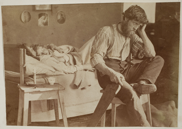 Oscar Gustaf Rejlander British, born Sweden, 1813–1875 Hard Times (The Out of Work Workman's Lament), 1860 Albumen silver print Image: 13.8 x 19.7 cm (5 7/16 x 7 3/4 in.) George Eastman Museum, purchase Photo: Courtesy of the George Eastman Museum