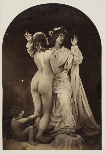 Oscar Gustaf Rejlander British, born Sweden, 1813–1875 Allegorical Study (Sacred and Profane Love), about 1860 Albumen paper print Image: 12 x 17.5 cm (4 3/4 x 6 7/8 in.) Wilson Centre for Photography