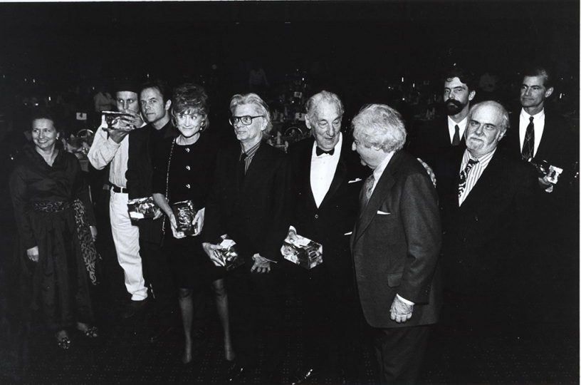 1993 Infinity Award Honorees_Richard Avedon: 1993 Infinity Award Honorees Nick Waplington, David Carson, Jane Livingston, Richard Avedon, Stefan Lorant, Arthur C. Danto, and James Nachtwey with ICP Founder Cornell Capa. Courtesy International Center of Photography. Photo by Chester Higgins.