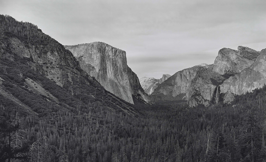 RICHARD LEAROYD Yosemite IV (BGV), 2018 gelatin silver contact print mounted to board and mounted to aluminum image, paper and mount, 48 1/8 x 77 1/8 inches frame, 60 ¼ x 89 x 2 ½ inches signed in ink on label affixed verso to frame edition of 7 with 2 APs © 2019 Richard Learoyd