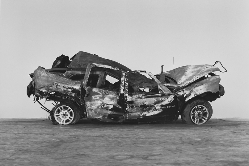 RICHARD LEAROYD Crashed, burned and rolled (2), 2017 gelatin silver print on hand coated paper hinged to board image and paper, 64 x 95 inches mount, 68 x 99 inches frame, 70 ¾ x 101 ¾ x 4 ¾ inches signed in ink on label affixed verso to frame edition of 5 © 2019 Richard Learoyd
