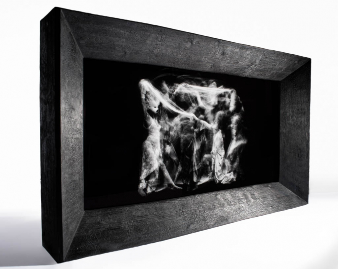 The Dance of Hades John Singletary in Shou Sugi Ban Enclosure By David Markham-Gessner 9' x 6' OLED Installation