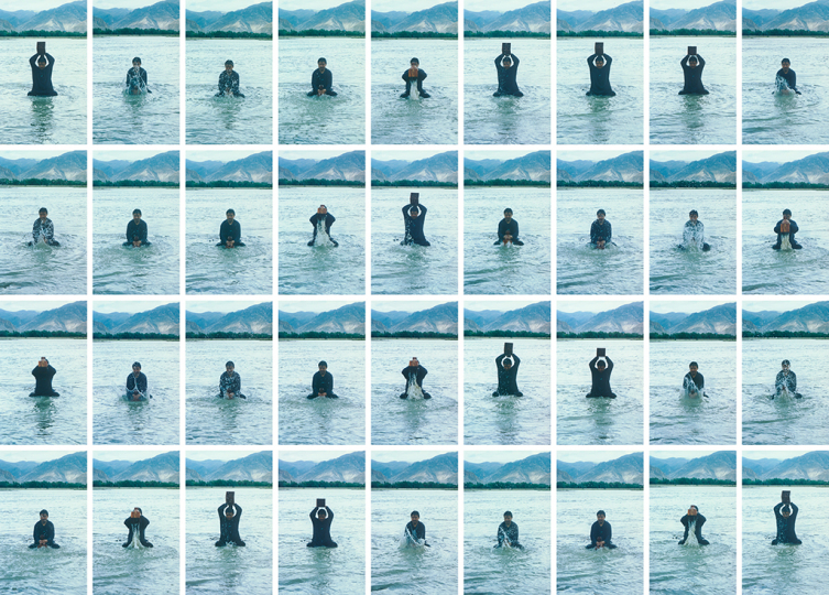 Song Dong, Printing on Water (Performance in the Lhasa River, Tibet), 1996. © The artist. Courtesy the artist and Pace Gallery.