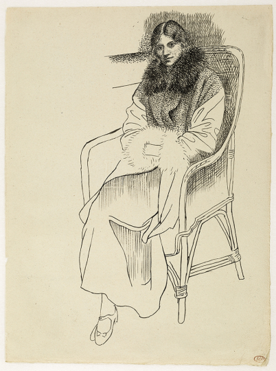 Pablo Picasso Olga in an Armchair Late 1919 Ink on paper 26.7 × 19.8 cm Musée national Picasso-Paris Dation Pablo Picasso, 1979 MP 854 RMN-Grand Palais (Musée national Picasso-Paris) / Mathieu Rabeau © Succession Pablo Picasso, VEGAP, Madrid 2019
