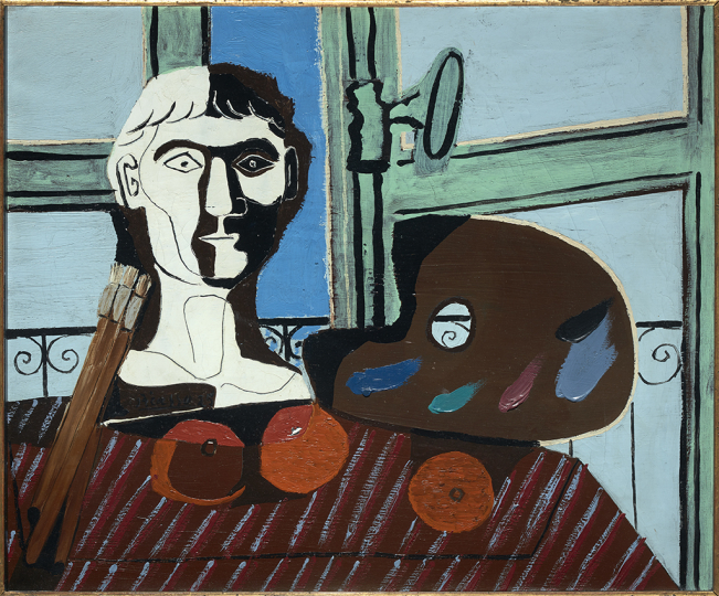 Pablo Picasso Bust and Palette 25 February 1925 Oil on canvas 54 × 65.5 cm Museo Nacional Centro de Arte Reina Sofía, Madrid AS06524 Archivo Fotográfico Museo Nacional Centro de Arte Reina Sofía © Succession Pablo Picasso, VEGAP, Madrid 2019