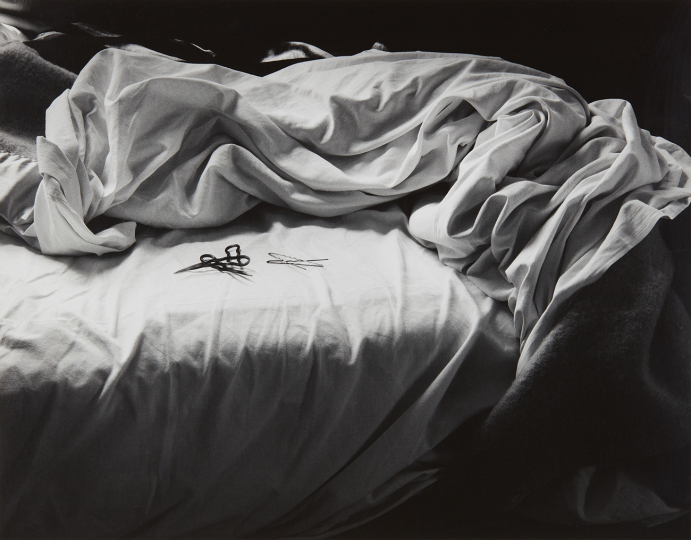Imogen Cunningham The Unmade Bed 1957 Gelatin silver print, printed later. 10 5/8 x 13 1/2 in. (27 x 34.3 cm) Signed and dated in pencil on the mount; typed title and date on an Imogen Cunningham Trust label with signature facsimile affixed to the reverse of the mount. Estimate : $ 12,000 - 18,000 - Image courtesy of Phillips